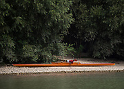Linz, Austria, Thursday,  29th Aug 2019, FISA World Rowing Championship, spectator, parkes his single on the foreshore,  [Mandatory Credit; Peter SPURRIER/Intersport Images]<br /> <br /> 13:17:11  29.08.19