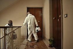 Rome, in implementation of the sanitation program useful to contain the health emergency COVID-19, disinfection of the internal public and private condominium areas was performed: stairs, floors and elevator shaft.