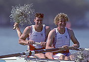 Barcelona, SPAIN. Gold medalist, GBR M2+, Bow Greg SEARLE and Jonny SEARLE with cox, Gary HERBERT. 1992 Olympic Rowing Regatta Lake Banyoles, Catalonia [Mandatory Credit Peter Spurrier/ Intersport Images] Last time Men's coxed pair raced at the Olympics