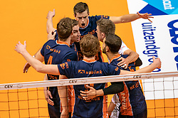 12-05-2019 NED: Abiant Lycurgus - Achterhoek Orion, Groningen<br /> Final Round 5 of 5 Eredivisie volleyball, Orion wins Dutch title after thriller against Lycurgus 3-2 / Pim Kamps #7 of Orion, Peter Ogink #6 of Orion, Rob Jorna #10 of Orion