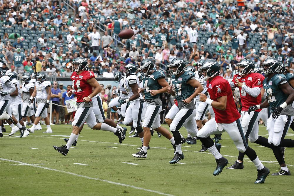 Philadelphia Eagles quarterback Tim Tebow #11 at the Philadelphia Eagles Training Camp Practice at Lincoln Financial Field in Philadelphia on Sunday, August 9th 2015. (Brian Garfinkel/Philadelphia Eagles)