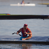 Parakayak competitiro waits for his boat after a boat control check during the 2011 ICF World Canoe Sprint Championships held in Szeged, Hungary. Thursday, 18. August 2011. ATTILA VOLGYI