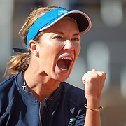 PARIS, FRANCE October 07.  Danielle Collins of the United States celebrates win ing the second set against Sofia Kenin of the United States in the Quarter Finals of the singles competition on Court Philippe-Chatrier during the French Open Tennis Tournament at Roland Garros on October 7th 2020 in Paris, France. (Photo by Tim Clayton/Corbis via Getty Images)