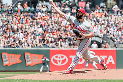 June 3, 2018 - San Francisco, CA, U.S. - SAN FRANCISCO, CA - JUNE 03: Philadelphia Phillies Starting pitcher Jake Arrieta (49) throws a pitch during the first inning of the MLB game between the Philadelphia Phillies and San Francisco Giants on June 3, 2018, at AT&T Park in San Francisco, CA. (Photo by Bob Kupbens/Icon Sportswire) (Credit Image: © Bob Kupbens/Icon SMI via ZUMA Press)