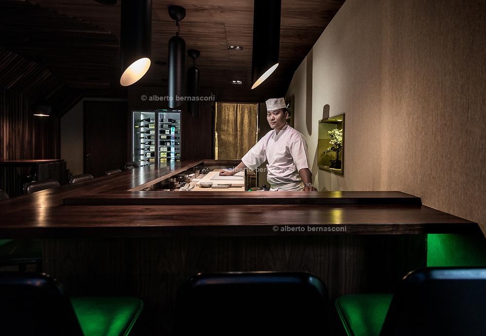 Stavanger, Sabi Omakase Restaurant, the first winning a  Michelin star. the chef  ROGER ASAKIL JOYA