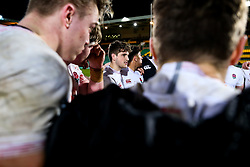 Sam Maunder of England U20 gives a team talk in the huddle after Ireland U20 win 21-39 - Rogan/JMP - 21/02/2020 - Franklin's Gardens - Northampton, England - England U20 v Ireland U20 - Under 20 Six Nations.