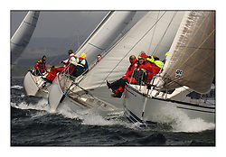 Day 2 of the Bell Lawrie Scottish Series with wild conditions on Loch Fyne for all fleets. Exhilarating and testing racing for Boats and crew...Class 4 , GBR581R Antix, with Valhala of Aston to windward..