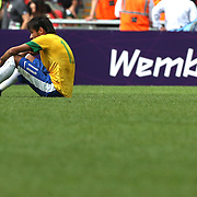 Neymar, Brazil, after defeat during the Brazil V Mexico Gold Medal Men's Football match at Wembley Stadium during the London 2012 Olympic games. London, UK. 11th August 2012. Photo Tim Clayton