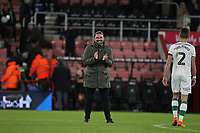 Football - 2017 / 2018 EFL Carabao (League) Cup - Fourth Round : AFC Bournemouth vs. Norwich City<br /> <br /> Norwich City Head Coach Daniel Farke smiles, laughs and applauds the Norwich fans at the final whistle as they start to sing Happy Birthday to you at the Vitality Stadium (Dean Court) Bournemouth <br /> <br /> COLORSPORT/SHAUN BOGGUST