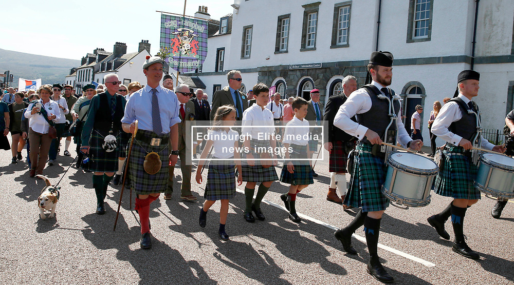 Inveraray Highland Games. Inveraray and District Pipe Band lead the parade from the town centre to the games field at Inveraray Castle. The Duke of Argyll and other dignitaries follow the pipe band to the games field where His Grace officially open the games...... (c) Stephen Lawson   Edinburgh Elite media