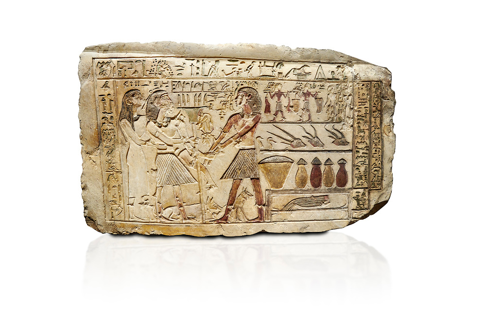 Ancient Egyptian stele showing Iti & Neferu receiving food offerings, First Intermediate Period, (2118-1980 BC), Gebelein, Tomb of Iti & Neferu,  Egyptian Museum, Turin. white background. Schiaparelli cat 13114. .<br /> <br /> If you prefer to buy from our ALAMY PHOTO LIBRARY  Collection visit : https://www.alamy.com/portfolio/paul-williams-funkystock/ancient-egyptian-art-artefacts.html  . Type -   Turin   - into the LOWER SEARCH WITHIN GALLERY box. Refine search by adding background colour, subject etc<br /> <br /> Visit our ANCIENT WORLD PHOTO COLLECTIONS for more photos to download or buy as wall art prints https://funkystock.photoshelter.com/gallery-collection/Ancient-World-Art-Antiquities-Historic-Sites-Pictures-Images-of/C00006u26yqSkDOM