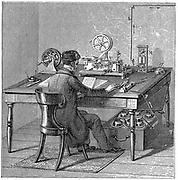 Operator sending a message on a Morse electric printing telegraph by tapping out code with key. Under table are we cells (batteries) supplying electricity . Wood engraving 1887