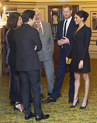 August 29, 2018 - London, England, United Kingdom - 8/29/18.The Duke and Duchess of Sussex pictured arriving for a gala performance of the musical HAMILTON in support of Sentebale at the Victoria Palace Theatre, London.. The evening will raise awareness and funds for Sentebale''s work with children and young people affected by HIV in southern Africa. (Credit Image: © Starmax/Newscom via ZUMA Press)