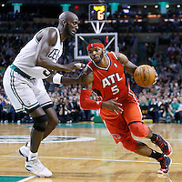 08 March 2013: Atlanta Hawks small forward Josh Smith (5) drives past Boston Celtics center Kevin Garnett (5) during the Boston Celtics 107-102 OT victory over the Atlanta Hawks at the TD Garden, Boston, Massachusetts, USA.