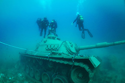 May 18, 2017 - Antalya, Türkiye - A Turkish Army tank was sunk in the Mediterranean Sea off the coast of the south resort town Kas to serve as an artificial reef and attract tourists as part of a project. The tank was sunk in 5 meters deep of water.  If the weather conditions are good, it will be taken to Guvercin Island of Kas in 20 meters deep water. (Credit Image: © Depo Photos via ZUMA Wire)
