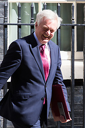 Downing Street, London, April 25th 2017. Secretary of State for Exiting the European Union David Davis leaves the weekly cabinet meeting at 10 Downing Street in London. Credit: ©Paul Davey