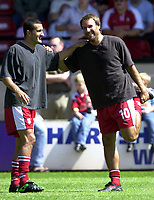 Photo: Richard Lane.<br />Walsall v Aston Villa. Pre-season friendly. 02/08/2003.<br />Paul Merson warms up with Vinnie Samways.