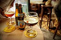 Photo of beers in the 't Brugs Beertje beerhouse in Bruges, Belgium.