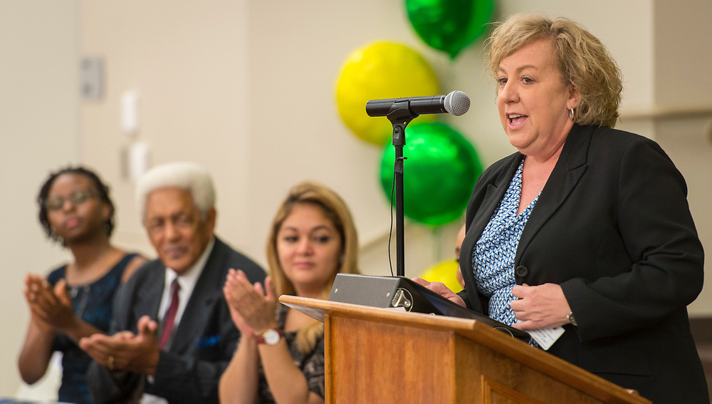 Julia Dimmitt comments during a dedication ceremony at Fonwood Early Childhood Center, May 3, 2017.