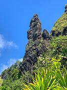 Stone formation that looks like Easter Island Moai, Omoa, Fatu Hiva, Marquesas, French Polynesia, South Pacific