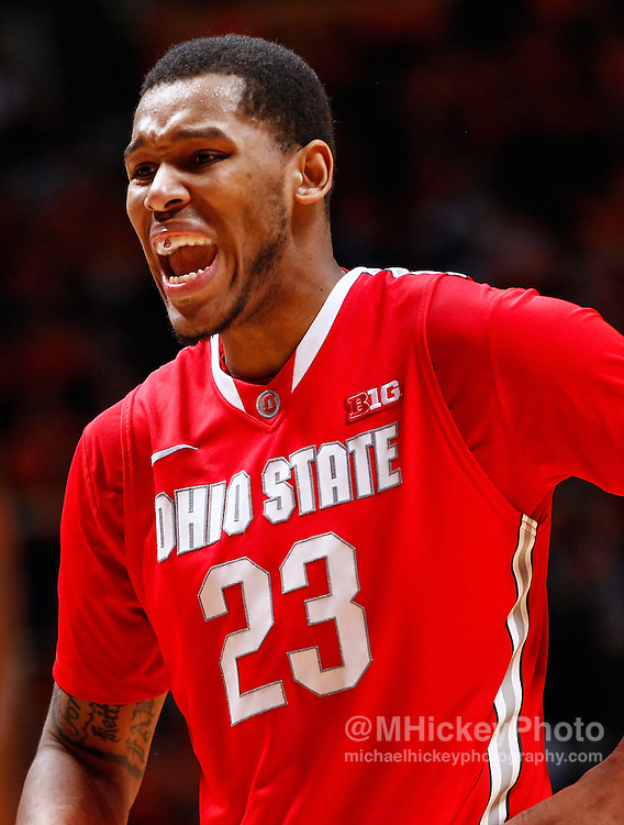 CHAMPAIGN, IL - JANUARY 05: Amir Williams #23 of the Ohio State Buckeyes is seen during the game against the Illinois Fighting Illini at Assembly Hall on January 5, 2013 in Champaign, Illinois. Ilinois defeated Ohio State 74-55. (Photo by Michael Hickey/Getty Images) *** Local Caption *** Amir Williams