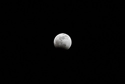 January 20, 2019 - New York, New York, United States - View of total lunar eclipse from the city of New York in the United States at dawn this Monday, 21. (Credit Image: © William Volcov/ZUMA Wire)