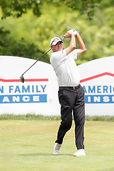 June 22, 2018 - Madison, WI, U.S. - MADISON, WI - JUNE 22:John Riegger tees off on the eighteenth tee during the American Family Insurance Championship Champions Tour golf tournament on June 22, 2018 at University Ridge Golf Course in Madison, WI. (Photo by Lawrence Iles/Icon Sportswire) (Credit Image: © Lawrence Iles/Icon SMI via ZUMA Press)