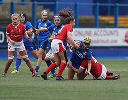 February 2, 2020, Cardiff, United Kingdom: Robyn Wilkins (Wales) and Beatrice Rigoni (Italy) are seen in action during the women's Six Nations Rugby between wales and Italy at Cardiff Arms Park in Cardiff. (Credit Image: © Graham Glendinning/SOPA Images via ZUMA Wire)