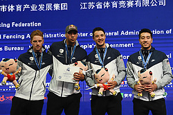 WUXI, July 27, 2018  Silver-medalists players of the United States pose during the awarding ceremony for the men's foil team competition at the Fencing World Championships in Wuxi, east China's Jiangsu Province, July 27, 2018. (Credit Image: © Li Bo/Xinhua via ZUMA Wire)