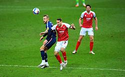 Charles Vernam of Bradford City and Chris Hussey of Cheltenham Town compete for the highball- Mandatory by-line: Nizaam Jones/JMP - 20/02/2021 - FOOTBALL - Jonny-Rocks Stadium - Cheltenham, England - Cheltenham Town v Bradford City - Sky Bet League Two