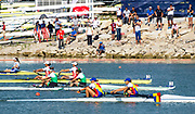 Linz, Austria, Saturday,  31st Aug 2019, FISA World Rowing Championship, opposite side from the Tower,B Final Women's Pair, pass the coaches observation Area [Bull Shit Point]  ROU W2- leading IRL and CHN, [Mandatory Credit; Peter SPURRIER/Intersport Images]<br /><br />11:06:58  31.08.19