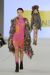 June 5, 2017 - London, UK - London, UK. A model presents a look by Kelly Allenberger from The Arts University Bournemouth on the second day of Graduate Fashion Week taking place at the Old Truman Brewery in East London.  The event showcases the graduation show of up and coming fashion designers from UK and international universities. (Credit Image: © Stephen Chung/London News Pictures via ZUMA Wire)