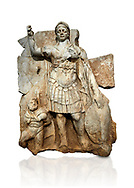 Roman Sebastian relief  sculpture of Roma armed, Aphrodisias Museum, Aphrodisias, Turkey.   Against a white background.<br /> <br /> Roma is equipped with a spear, helmet, round shield and imperial style armour. Blow crouches a naked bearded prisoner, with hands tied behind his back and a skin knotted around his neck. He turns to look up at Roma .<br /> <br /> If you prefer to buy from our ALAMY STOCK LIBRARY page at https://www.alamy.com/portfolio/paul-williams-funkystock/greco-roman-sculptures.html . Type -    Aphrodisias     - into LOWER SEARCH WITHIN GALLERY box - Refine search by adding a subject, place, background colour, museum etc.<br /> <br /> Visit our ROMAN WORLD PHOTO COLLECTIONS for more photos to download or buy as wall art prints https://funkystock.photoshelter.com/gallery-collection/The-Romans-Art-Artefacts-Antiquities-Historic-Sites-Pictures-Images/C0000r2uLJJo9_s0