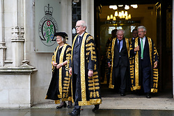 © Licensed to London News Pictures. 01/10/2019. London, UK. Baroness Hale of Richmond (L), President of the Supreme Court and the Justices of the Supreme Court leave for Westminster Abbey to attending the annual service to mark the start of the legal year. The start of the new legal year is marked with a traditional religious service in Westminster Abbey followed by a procession to The Houses of Parliament where the Lord Chancellor hosts a reception.  Photo credit: Dinendra Haria/LNP