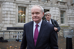 © Licensed to London News Pictures. 09/11/2016. London, UK. Deputy First Minister of Northern Ireland Martin McGuinness leaves 70 Whitehall after the first meeting of forum to discuss Brexit with ministers from the administrations of Northern Ireland, Scotland and Wales. Photo credit: Rob Pinney/LNP