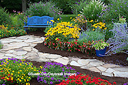 63821-21713 Blue bench, blue pot, and stone path in flower garden.  Black-eyed Susans (Rudbeckia hirta) Red Dragon Wing Begonias (Begonia x hybrida)  Zinnias, Homestead Purple Verbena (Verbena canadensis), New Gold Lantana (Lantana camara)  Red Verbena, Butterfly Bushes, zinnias, Million Bells in container, Russian Sage (Perovskia atriplicifolia) Marion Co., IL
