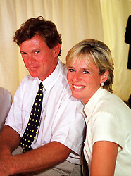 MR BROOK JOHNSON and his close friend MRS SALLY FABER former wife of MP David Faber and former close friend of James Hewitt, at a polo match in West Sussex on 18th July 1999.MUH 62
