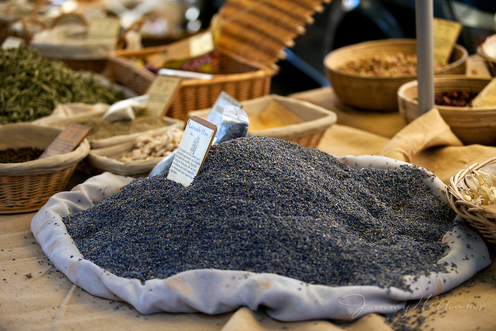 Fresh lavender is displayed at an outdoor market in Gordes, France