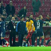Galatasaray's goalkeeper Nestor Fernando Muslera (R) during their Turkish Super League soccer match Galatasaray between IBBSpor at the TT Arena at Seyrantepe in Istanbul Turkey on Tuesday, 03 January 2012. Photo by TURKPIX