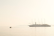 Sea with cruise ship on foggy day, Llle-Rousse, Corsica, France