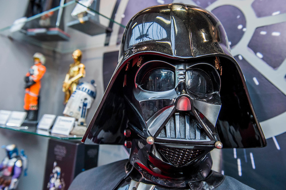 Star Wars characters mixed with memorabilia on the Amerang stand -The annual London Toy Fair, the trade show for the toy and games industry, takes place at Olympia.