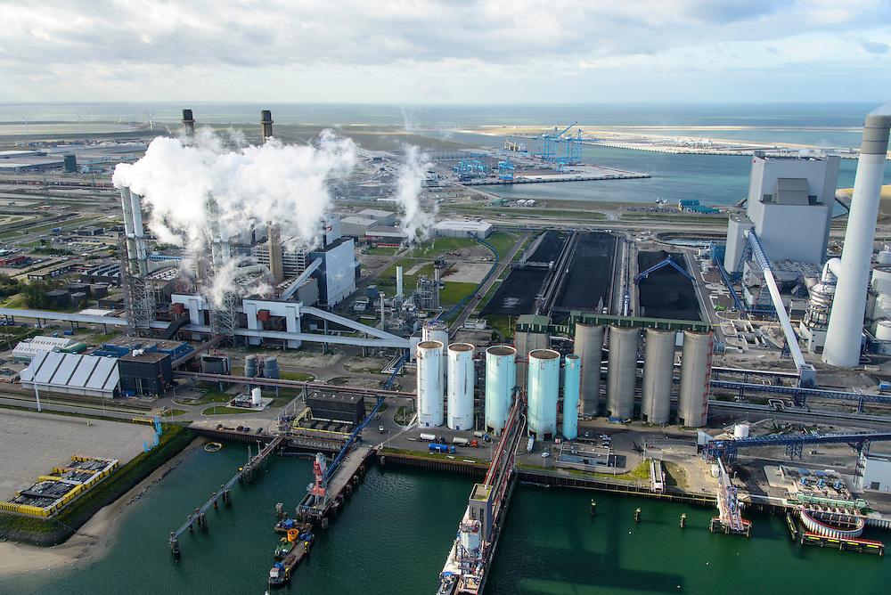 Nederland, Zuid-Holland, Rotterdam, 23-10-2013; Maasvlakte met de kolengestookte Centrale Maasvlakte van E.ON. Rechts de schoorsteen van de nieuwe centrale, de Maasvlakte Power Plant 3 (MPP3). In de achtergrond de Tweede Maasvlakte (MV2) en De Slufter.<br /> Maasvlakte with the coal-fired Maasvlakte Power Plant E.ON. In the background the Maasvlakte (MV2).<br /> luchtfoto (toeslag op standard tarieven);<br /> aerial photo (additional fee required);<br /> copyright foto/photo Siebe Swart