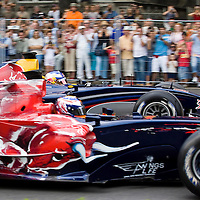 Red Bull Street Parade involving Formula 1 cars racing on public streets in central Budapest, Hungary. Thursday, 03. August 2006. ATTILA VOLGYI