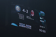 The final score shown on the giant screen following the Serie A match at Giuseppe Meazza, Milan. Picture date: 9th February 2020. Picture credit should read: Jonathan Moscrop/Sportimage