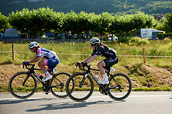 Grace Garner (GBR) on the first climb at La Course by Le Tour de France 2018, a 112.5 km road race from Annecy to Le Grand Bornand, France on July 17, 2018. Photo by Sean Robinson/velofocus.com