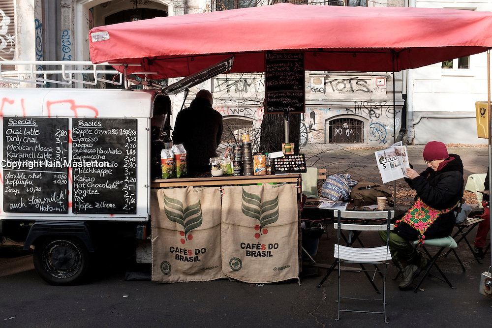 View of small mobile cafe at weekly Eko-Markt, or Eco-Market, at Kollwitzplatz in gentrified Prenzlauer Berg neighbourhood of Berlin , Germany