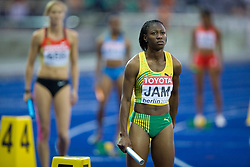 Jamaica's Simone Facey competes  during the women's 4x100m relay race of the 12th IAAF World Athletics Championships at the Olympic Stadium on August 22, 2009 in Berlin, Germany. (Photo by Vid Ponikvar / Sportida)