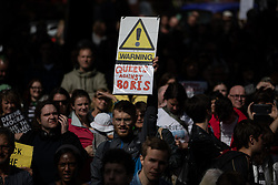 "© Licensed to London News Pictures. 31/08/2019. Manchester, UK. A placard reading "" Queers against Boris "" . Thousands attend a pro EU demo in Albert Square in Manchester City Centre , with objections raised to the Prime Minister Boris Johnson's intention to prorogue Parliament in the run up to Britain's planned Brexit deadline . Photo credit: Joel Goodman/LNP"