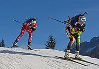 Skiskyting<br /> World Cup<br /> Hochfilzen Østerrike<br /> 14.12.2014<br /> Foto: Gepa/Digitalsport<br /> NORWAY ONLY<br /> <br /> IBU World Cup, 10km pursuit, ladies. Image shows Fanny Welle-Strand Horn (NOR) and Darya Domracheva (BLR).