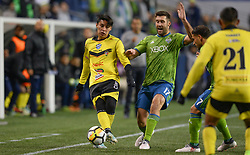 March 1, 2018 - Seattle, Washington, U.S - Soccer 2018: Santa Tecla's BRYAN TAMACAS (6) controls the ball as Santa Tecla FC visits the Seattle Sounders for a CONCACAF match at Century Link Field in Seattle, WA. (Credit Image: © Jeff Halstead via ZUMA Wire)
